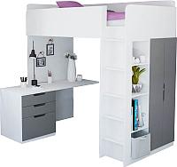 Кровать-чердак детская Polini Kids Simple с письменным столом и шкафом (белый/серый) -