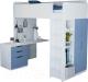 Кровать-чердак Polini Kids Simple с письменным столом и шкафом (белый/синий) -