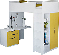 Кровать-чердак Polini Kids Simple с письменным столом и шкафом (белый/желтый) -