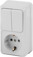 Блок выключатель+розетка INTRO Quadro 2-706-01 / Б0036169 (белый) -