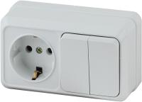 Блок выключатель+розетка INTRO Quadro 2-702-01 / Б0036153 (белый) -