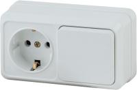 Блок выключатель+розетка INTRO Quadro 2-701-01 / Б0036149 (белый) -