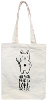 Сумка-шоппер MONAMI HY-FBD169 №1 (кот с сердцем белый) -