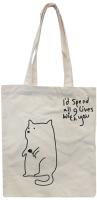 Сумка-шоппер MONAMI HY-FBD169 №2 (кот с цветком белый) -
