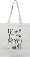 Сумка-шоппер MONAMI HY-FBD169 №4 (кот с пальцем белый) -