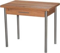 Обеденный стол Древпром М20 90x60 с ящиком (металлик/дуб горный) -