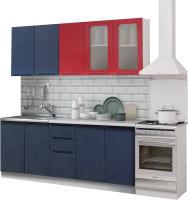 Готовая кухня Rikko Катя-1 2.0 (красный глянец/бетон графит) -