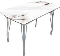 Обеденный стол BTS Магнолия на мраморе (хром) -
