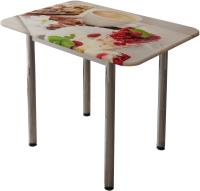 Обеденный стол BTS Десерт (с принтом белый/хром) -