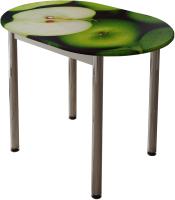 Обеденный стол BTS Зеленое яблоко (с принтом белый/хром) -