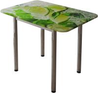 Обеденный стол BTS Лайм (с принтом белый/хром) -