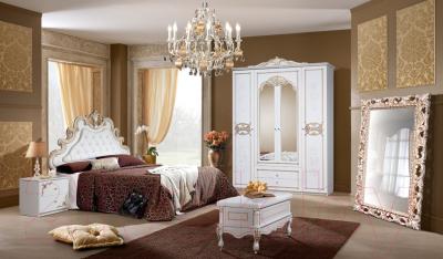 Комод Мебель-КМК Розалия 2 0543.3-02 (белый/белый жемчуг/патина золото)