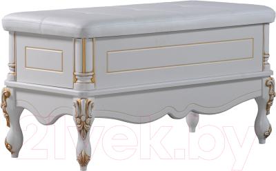 Пуф Мебель-КМК Розалия 0456.7-02 (белый/белый жемчуг/патина золото)