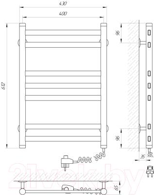 Полотенцесушитель электрический Laris Кватро П7 400x600 (правый)