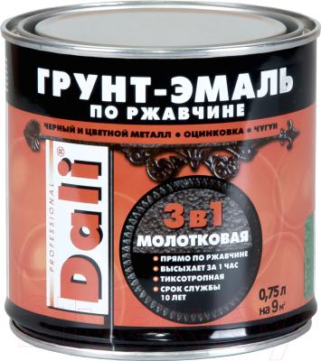 Эмаль DALI Молотковая по ржавчине 3 в 1 (750мл, черный)