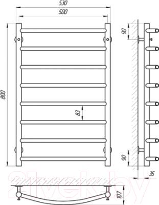 Полотенцесушитель электрический Laris Классик П8 500x800 (правый)