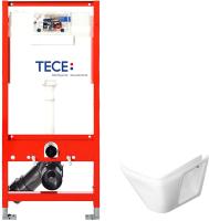 Унитаз подвесной с инсталляцией Керамин Милан Premium + 9300000 (с жестким сиденьем и микролифтом) -