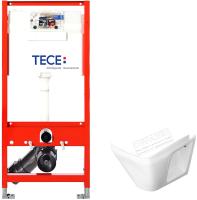 Унитаз подвесной с инсталляцией Керамин Милан Premium + 9300000 (с жестким сиденьем Slim и микролифтом) -