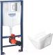 Унитаз подвесной с инсталляцией Керамин Милан Premium + 38772001 (с жестким сиденьем Slim и микролифтом) -