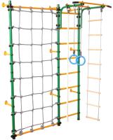 Детский спортивный комплекс Юный Атлет Пристенный с сеткой (зеленый) -