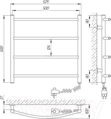 Полотенцесушитель электрический Laris Зебра Классик ЧК П4 500x500 (правый)
