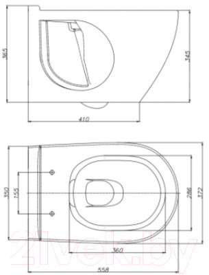 Унитаз подвесной Керамин Трино (с жестким сиденьем и микролифтом)