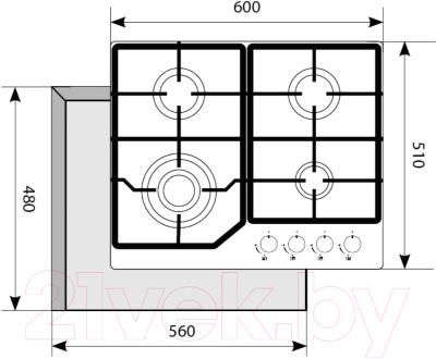 Газовая варочная панель Akpo PGA 604 LGC IV