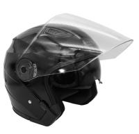 Мотошлем Kioshi 526 Solid открытый со стеклом и очками (L, черный матовый) -