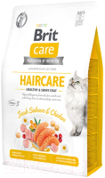 Корм для кошек Brit Care Cat Grain-Free Haircare Healthy & Shiny Coat / 540891 (400г) -