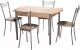 Обеденная группа Древпром М3 со стульями Премьер (дуб сонома/серебро бенгал бежевый) -