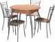Обеденная группа Древпром М4 со стульями Премьер (дуб горный/серебро бенгал бежевый) -