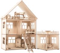 Кукольный домик ХэппиДом Коттедж с пристройкой и мебелью / HK-D004 -