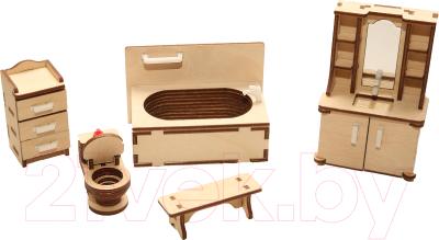 Комплект аксессуаров для кукольного домика ХэппиДом Ванная / HK-M006