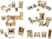Комплект аксессуаров для кукольного домика ХэппиДом Большой набор кукольной мебели 6в1 / HK-M011 -