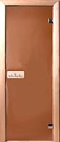 Стеклянная дверь для бани/сауны Doorwood Теплая ночь 190x80 (бронза матовая, коробка осина) -