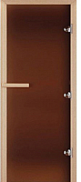 Стеклянная дверь для бани/сауны Doorwood Теплая ночь 190x70 (бронза матовая, коробка листва) -