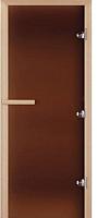 Стеклянная дверь для бани/сауны Doorwood Теплая ночь 200x70 (бронза матовая, коробка осина) -