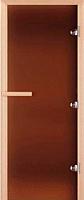 Стеклянная дверь для бани/сауны Doorwood Теплая ночь 200x80 (бронза матовое, коробка листва) -