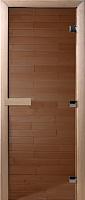 Стеклянная дверь для бани/сауны Doorwood Теплый день 200x80 (бронза, коробка листва) -
