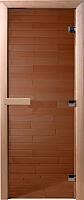 Стеклянная дверь для бани/сауны Doorwood Теплый день 210x70 (бронза, коробка осина) -