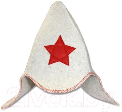 Шапка для бани Главбаня Будёновка / Б414 (белый)