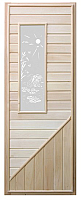 Деревянная дверь для бани Doorwood C прямоугольной стеклянной вставкой 185x75 -