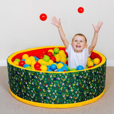 Игровой сухой бассейн Romana Веселая поляна ДМФ-МК-02.51.02 (100 шариков, синий/красный)