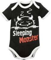 Боди для младенцев Amarobaby Monsters / AMARO-ODM1-Bl0-56 (черный, р. 56) -