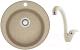 Мойка кухонная Berge BR-5100 + смеситель GR-4003 (песочный/пирит) -