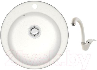 Мойка кухонная Berge BR-5100 + смеситель GR-4003 (белый/арктик)