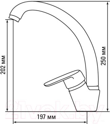 Мойка кухонная Berge BR-5750 + смеситель GR-4003 (серый/базальт)
