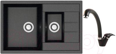 Мойка кухонная Berge BR-7612 + смеситель GR-4003 (черный/шварц)