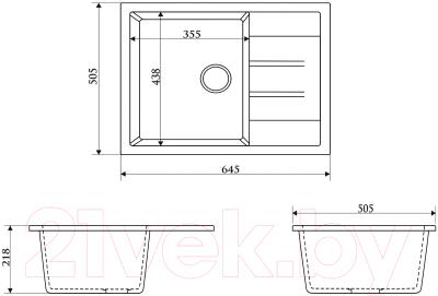 Мойка кухонная Berge BR-6502 + смеситель GR-4003 (белый/арктик)