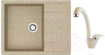 Мойка кухонная Berge BR-6502 + смеситель GR-4003 (песочный/пирит)
